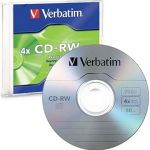 Verbatim Cd-rw 700mb 2-4x Multi Colour 5 Pack With Slim Cases | 77-43133