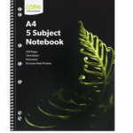 Icon Spiral 5 Subject Notebook A4 Soft Cover 250pg (2 Pack) | 68-ISNBSC006