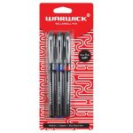 Warwick Pen Rollerball Capped Medium Blue Black Red 3 Pack | 61-117385