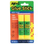 Amos Glue Stick 8gm 2 Pack Hangsell (12 items) | 61-200004