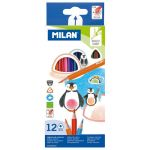 Milan Coloured Pencils Triangular Pack 12 Assorted Colours | 61-214175