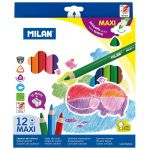Milan Coloured Pencils Triangular Maxi Pack 12 Assorted Colours | 61-214178