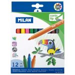 Milan Markers Conic Tip Pack 12 Assorted Colours | 61-214181