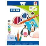 Milan Coloured Pencils Triangular Pack 18 Assorted Colours | 61-214223