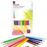 Ec Triangular Pencils Pack 12 Washable Assorted Colours With Sharpener | 61-227990