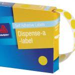 Avery Label Dispenser Dmc14y Yellow Round 14mm 1050 Pack | 61-238262