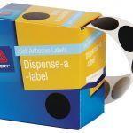 Avery Label Dispenser Dmc24bl Black Round 24mm 500 Pack | 61-238264