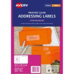 Avery Label Permanent J8560 Frosted Clear Inkjet 63.5mmx38.1mm 21up 25 Sheets | 61-238401