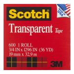 Scotch Transparent Tape 600 19mm X 3 Boxed Refill Roll | 68-10155