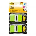 Post-it Flags 680-bg2 Twin Pack Bright Green 25 X 43mm 50/dispenser 2 Dispensers/pk | 68-10455
