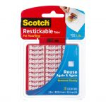 Scotch Restickable Mounting Tabs R100 25x25mm Pkt/18 Tabs | 68-10694