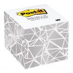 Post-it Notes Metallic Cube 2027-slv-wgeo White 76x76mm 620 Sheet Cube | 68-10806