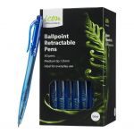 Icon Ballpoint Retractable Pens Medium Blue Pack 50 | 68-IBPRBLUE50