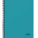 Icon Spiral Notebook A5 PP Cover Aqua 200 pg (3 Pack) | 68-ISNBPP001