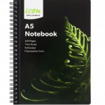 Icon Spiral Notebook A5 Pp Cover Black 200 Pg(3 Pack) | 68-ISNBPP003